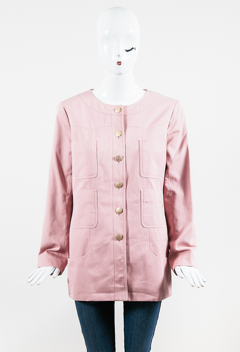 Spring 2002 Pink Cotton & Silk Gold Tone 'CC' Button Up Jacket