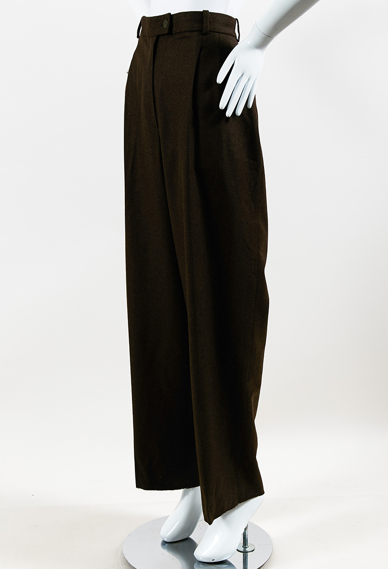 VINTAGE  Brown Cashmere & Wool High Waist Pleated Pants
