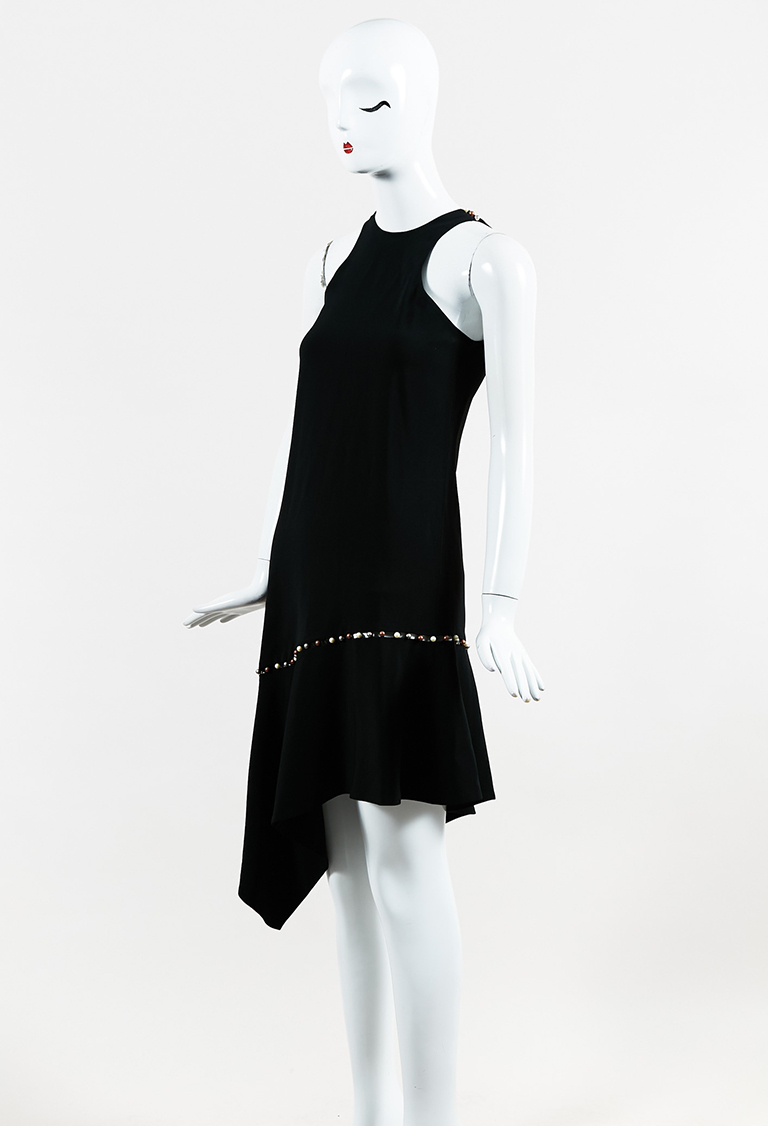 Black Embellished Sleeveless Asymmetric Flounce Dress