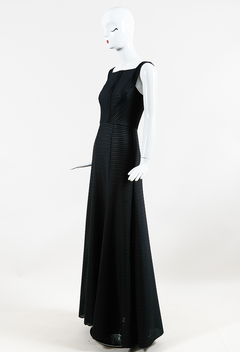 Black Ribbed Knit Square Neck A Line Gown