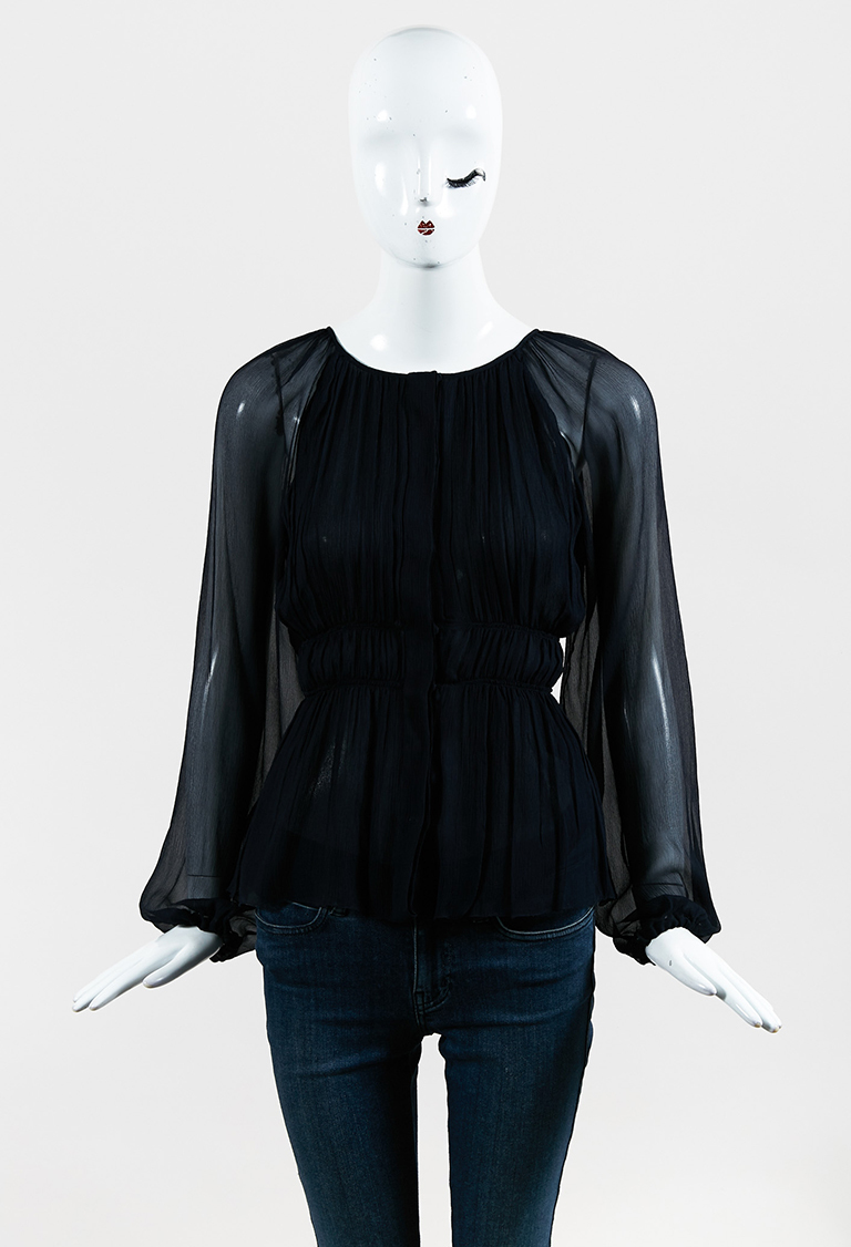 Black Silk Snap Front Ruched Long Sleeve Blouse