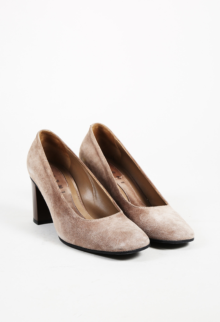 """Ghiaia"" Brown Suede Square Toe Pumps"