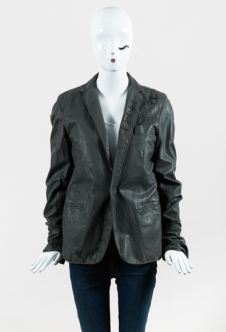 Gray Leather Collared Single Button Jacket