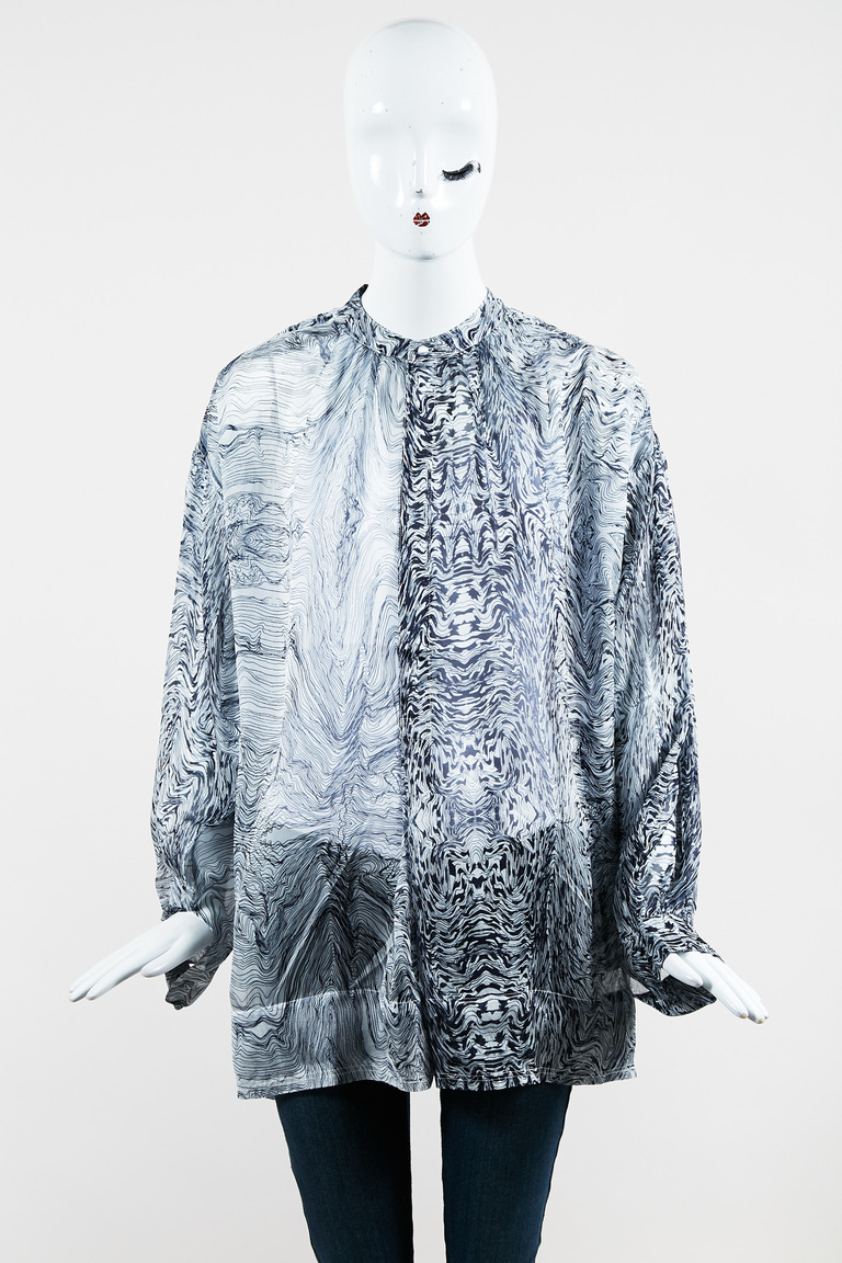 """Blue & White Silk Long Sleeve Printed Popover """"Alessia"""" Blouse"""