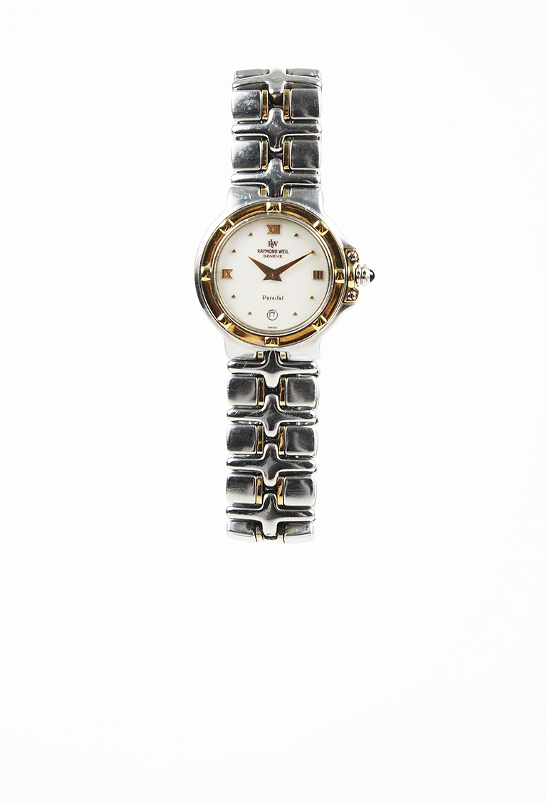 """18K Gold Stainless Steel Mother of Pearl """"Parsifal"""" Bracelet Watch"""