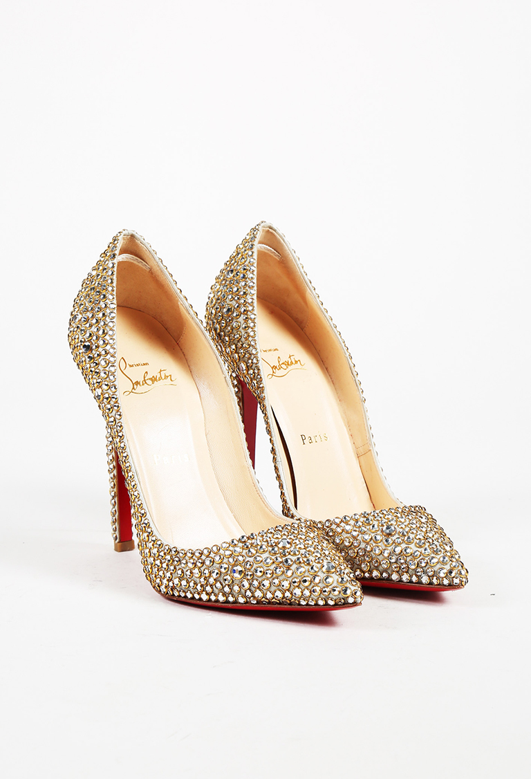 "Crystal Gold Leather Ring Strass ""Pigalle"" 120mm Pumps"