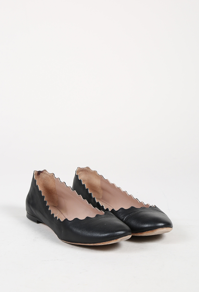 "Black Leather Scalloped ""Lauren"" Flats"