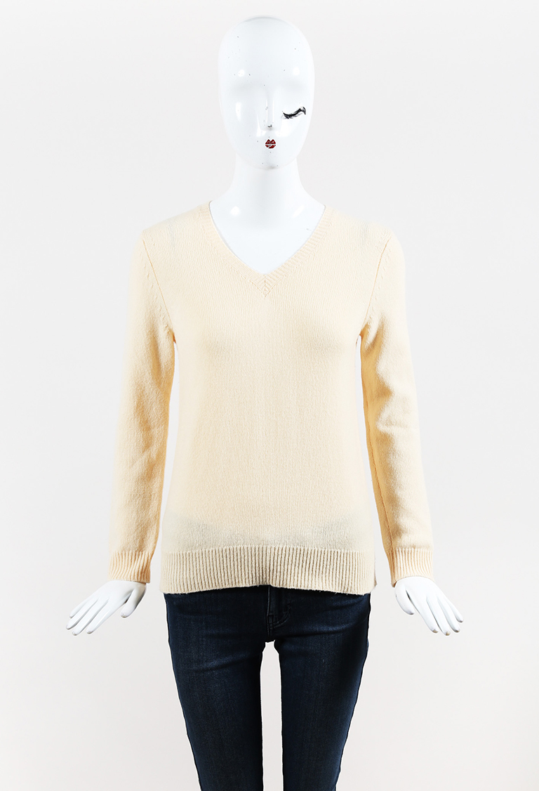 Yellow Cashmere & Wool V Neck Sweater