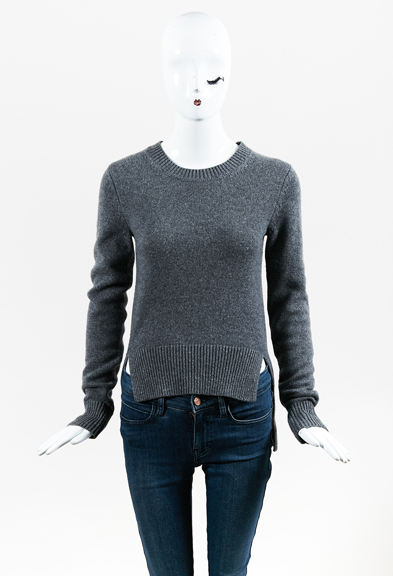 Gray Cashmere High Low Long Sleeve Pullover Sweater