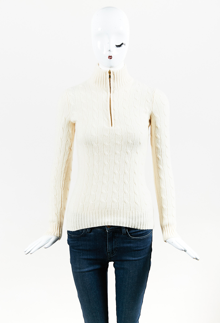Cream Cashmere Cable Knit 3/4 Zip Sweater