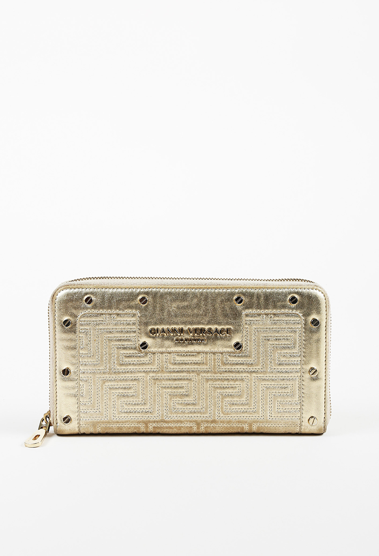 Metallic Gold Leather Greek Key Quilted Studded Continental Wallet