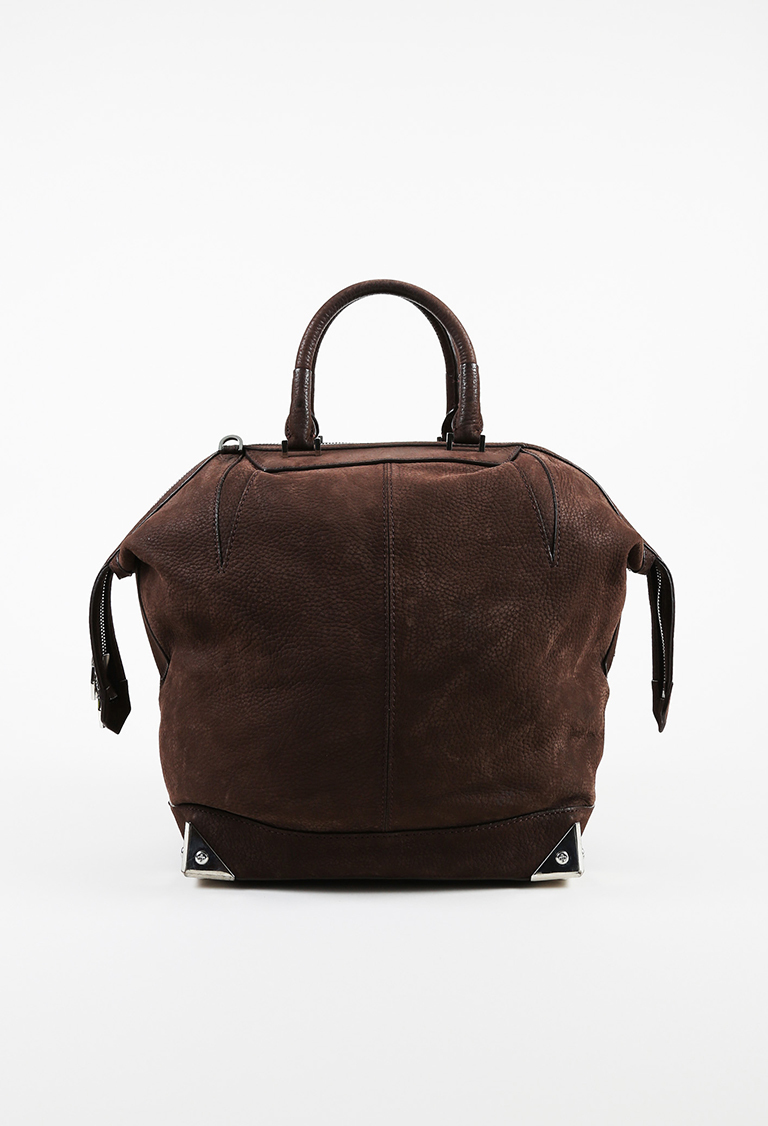 """Brown Grained Leather Large Top Handle """"Emile"""" Tote Bag"""