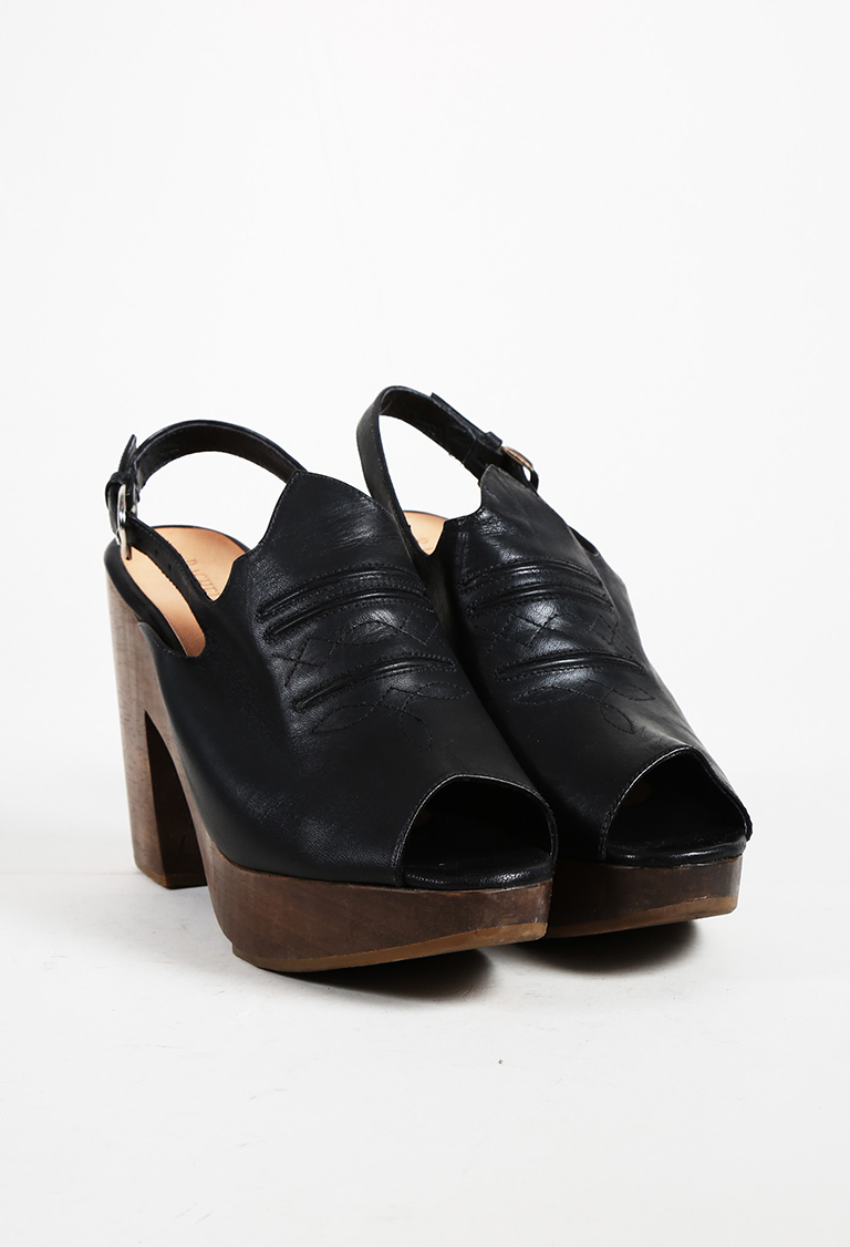 "Black Leather Peep Toe ""Hitchhiker"" Slingback Clog Sandals"