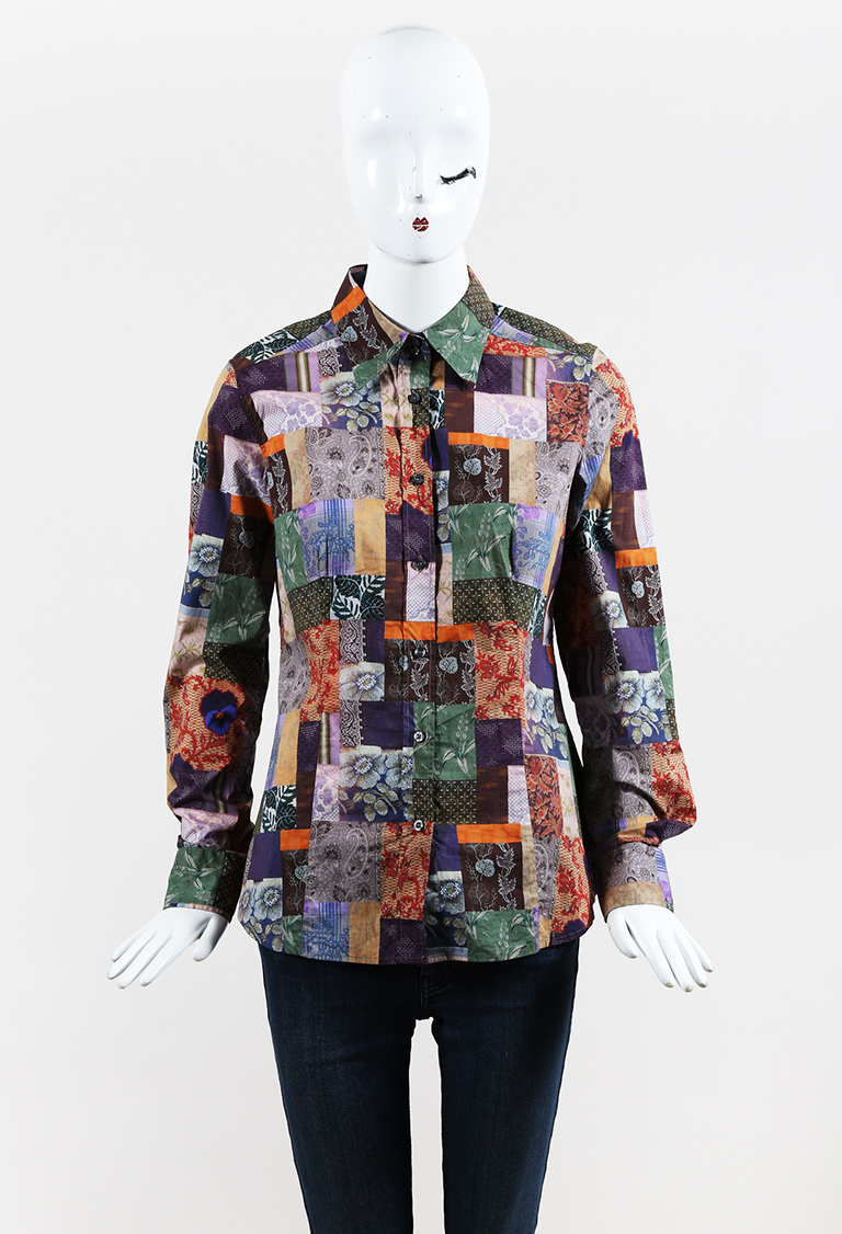 Multicolor Cotton Blend Patchwork Printed Long Sleeve Collared Shirt