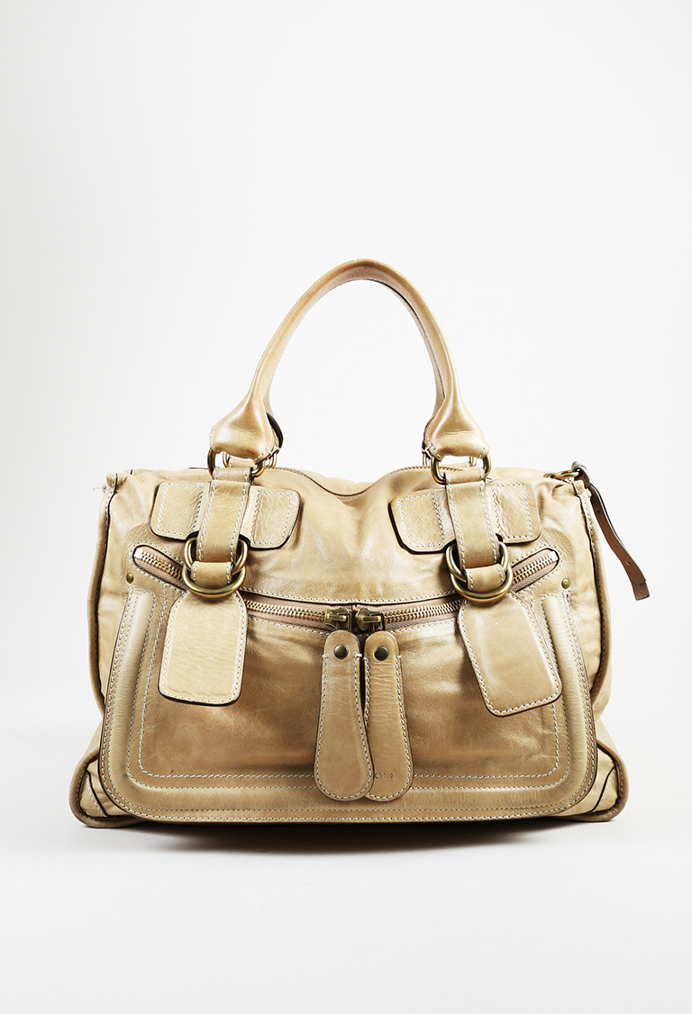 "Beige Leather Large Top Handle ""Bay"" Tote Bag"