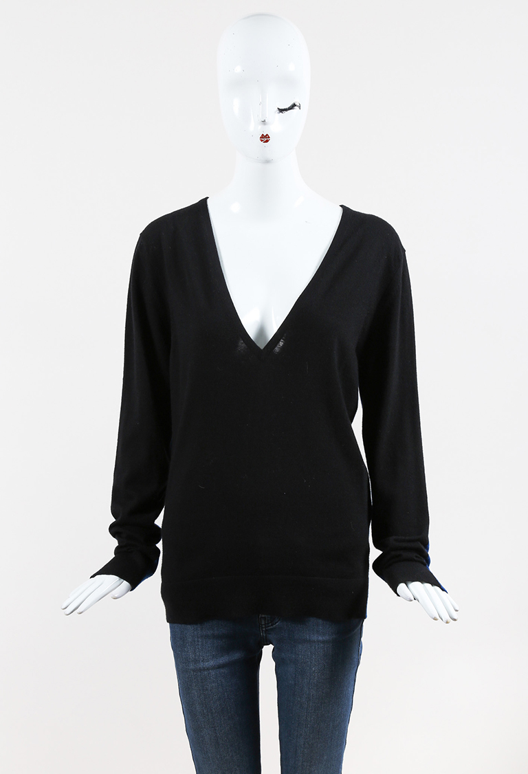 Knits Black Blue Cashmere Colorblock Long Sleeve V Neck Sweater