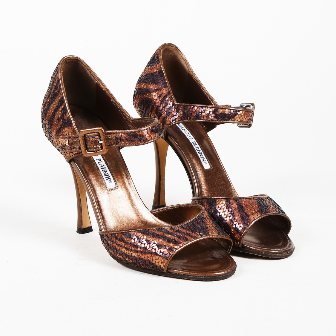 Details about Manolo Blahnik Brown Leather Sequined Animal Print Peep Toe  Pumps SZ 38 b3446d443
