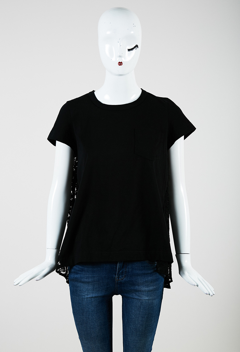 Black Knit & Lace Short Sleeve Crew Neck T Shirt