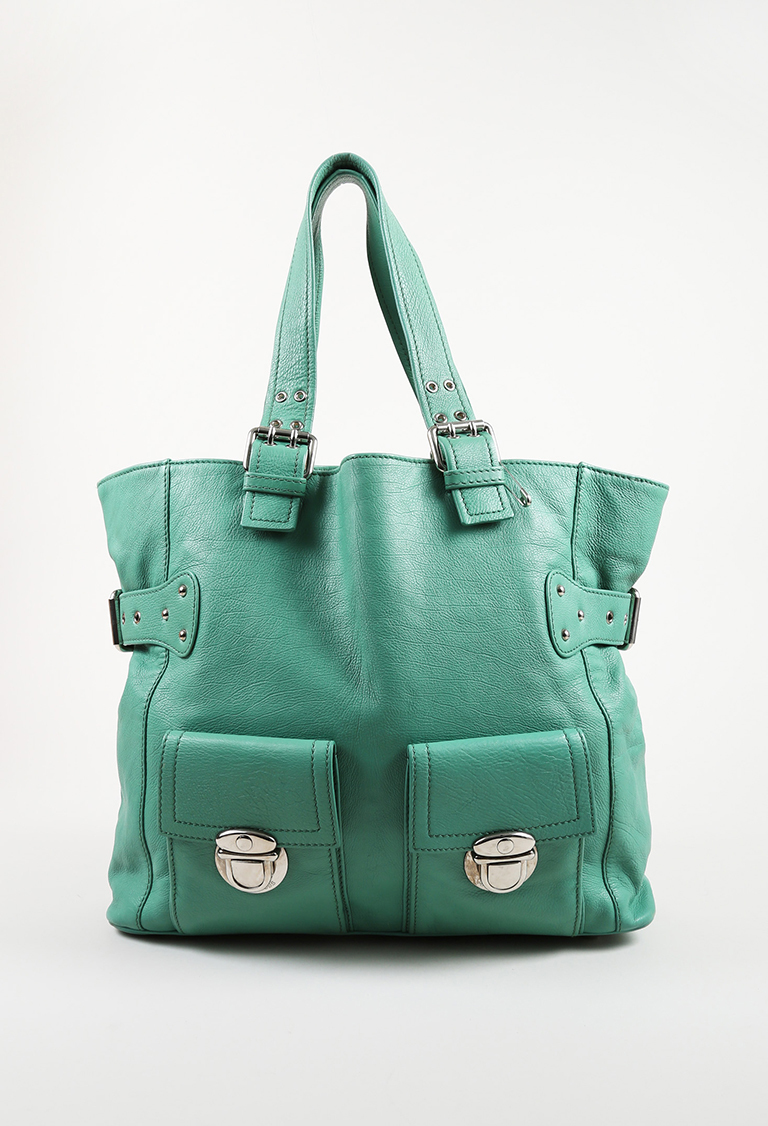 Blue Leather Top Handle Tote Bag