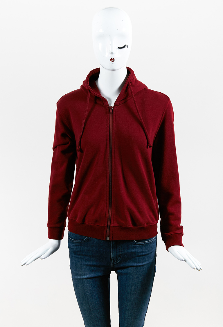 Red Fleece Zipped Shrunken Hooded Jacket