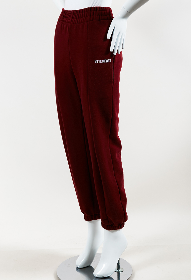 """Burgundy"" Red Fleece Logo Embroidered ""Biker"" Sweatpants"