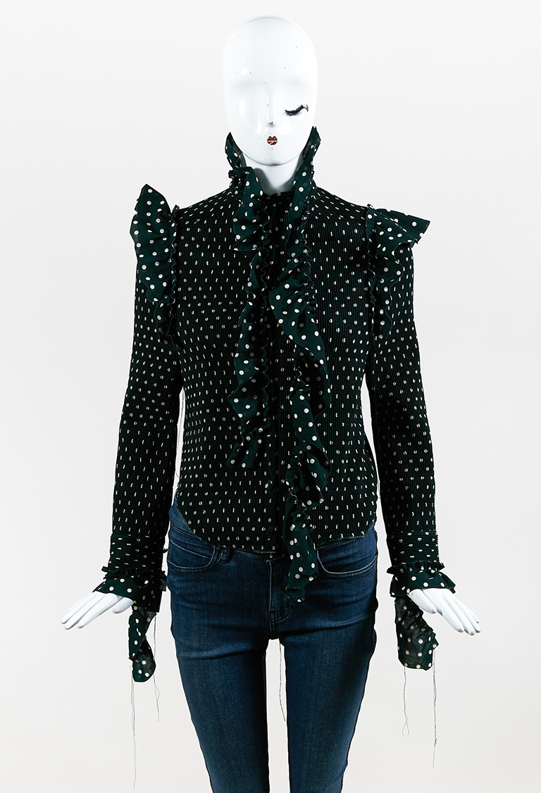 Green Georgette Quilted Long Sleeve Polka Dot Frilled Shirt