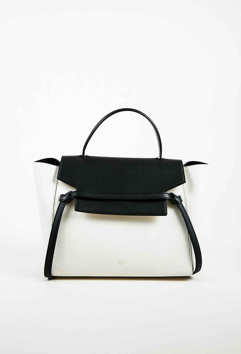 "White & Black Leather Bi Textured Top Handle Mini ""Belt"" Bag"
