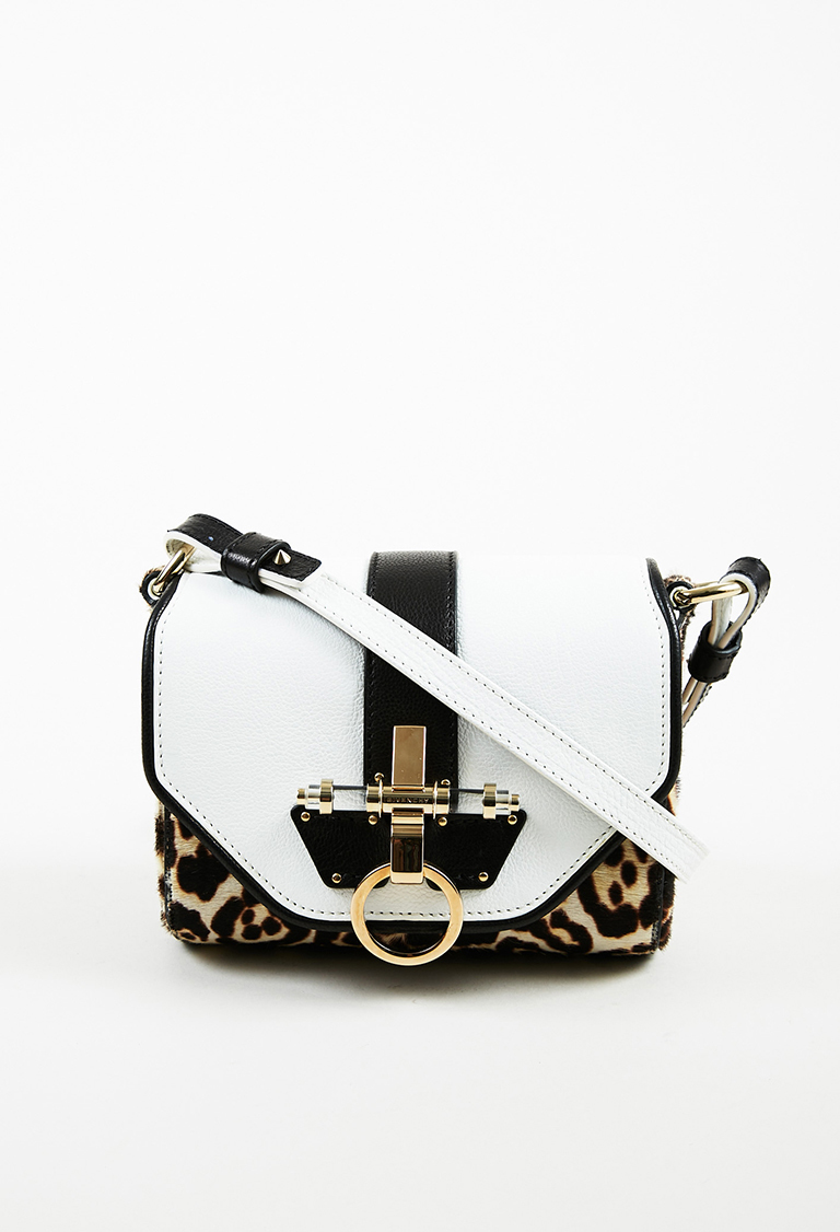 "White Multicolor Pony Hair & Leather Leopard ""Coney"" Flap Bag"