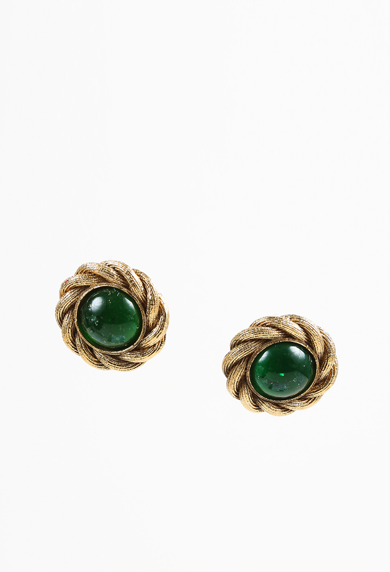 VINTAGE  Season 25 Green & Gold Tone Gripoix Round Clip On Earrings