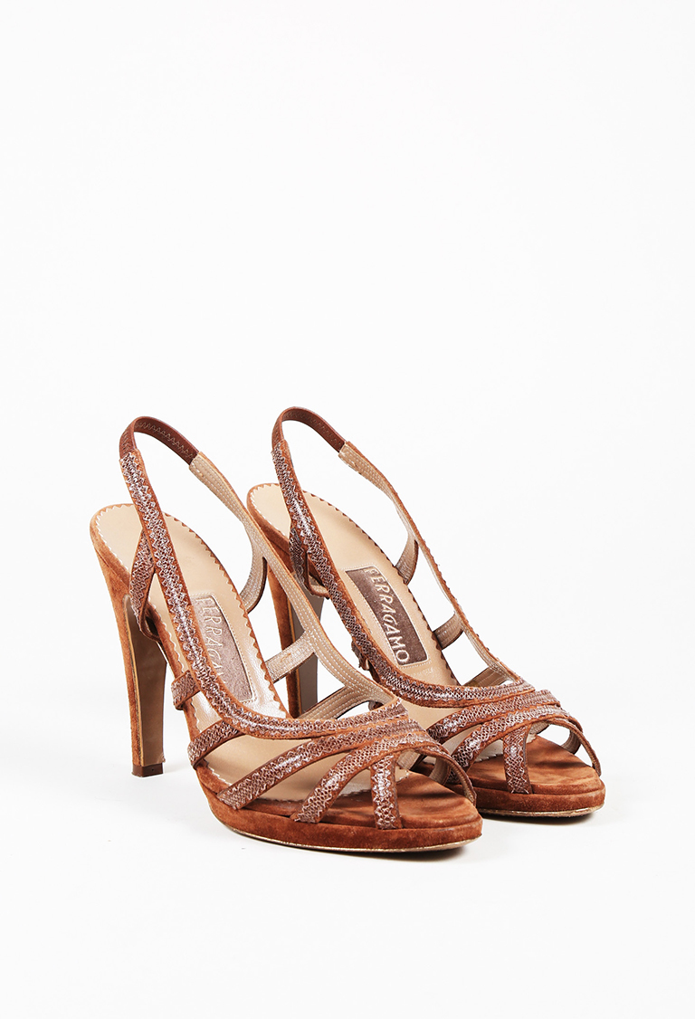 Brown Suede Scalloped Slingback Platform Sandals