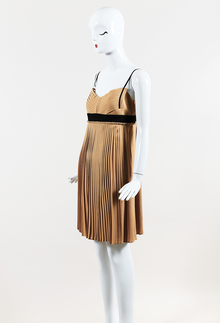 Beige & Black Silk Pleated V Neck Dress
