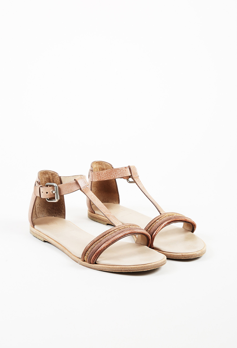 Brown Leather & Lizard Monili Beaded T Strap Sandals