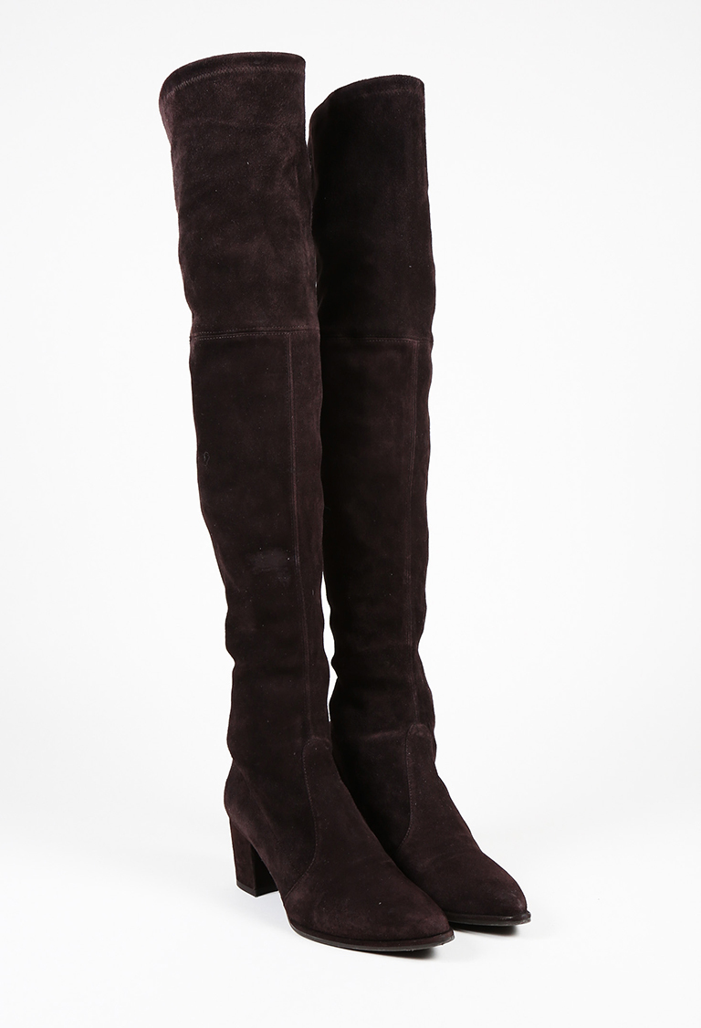 """""""Cola"""" Brown Suede """"Thighland"""" Over the Knee Boots"""