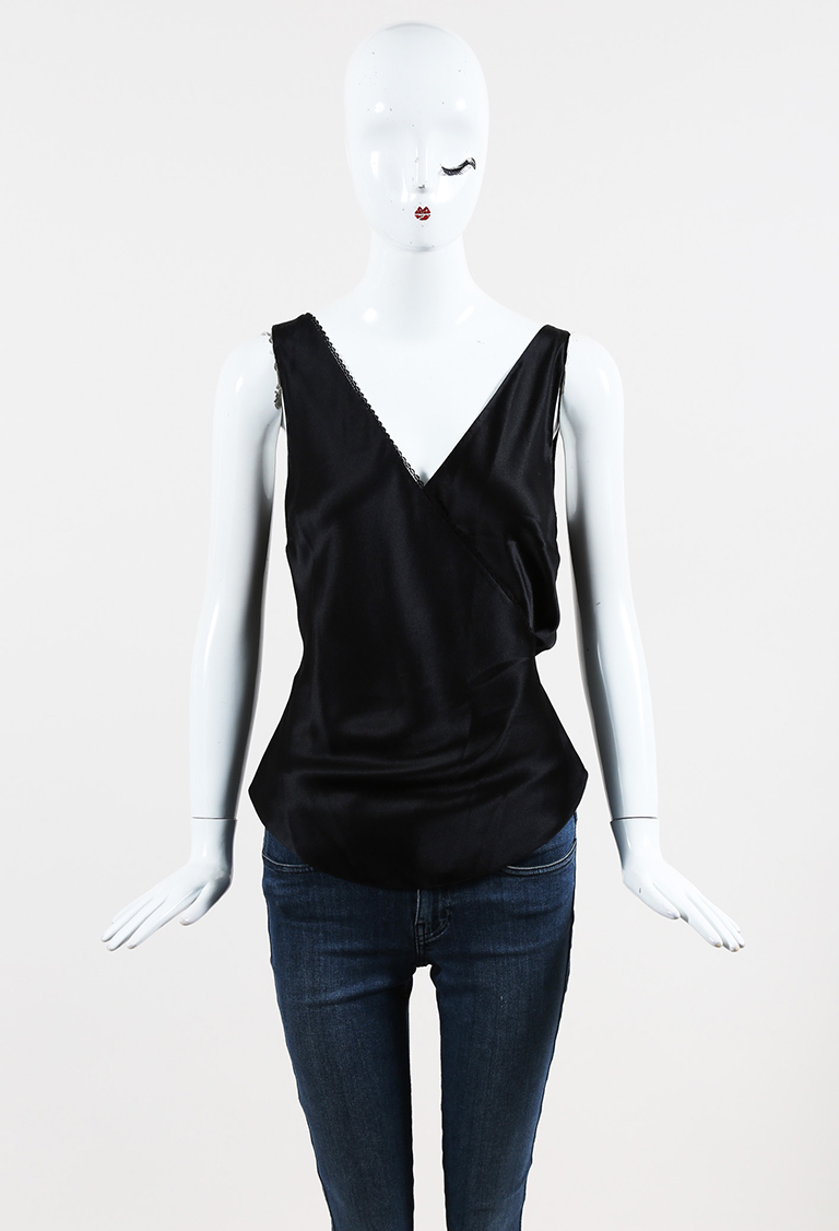 Black Silk V Neck Surplice Tank