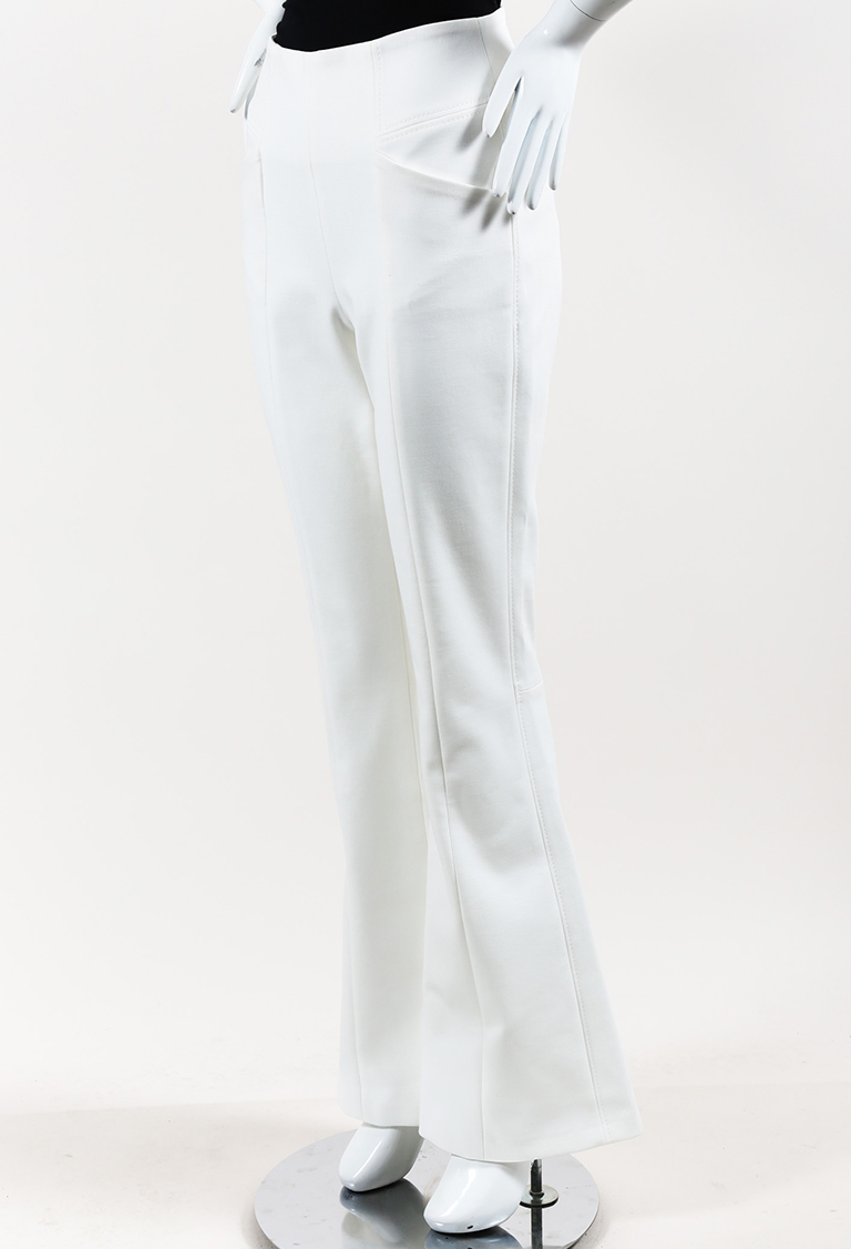 White Cotton Blend Flared High Waist Pants