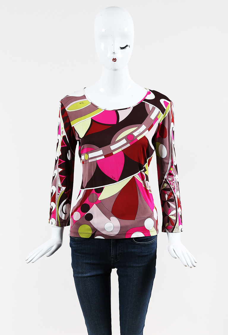 Multicolor Stretch Jersey Geometric Printed Long Sleeve Top