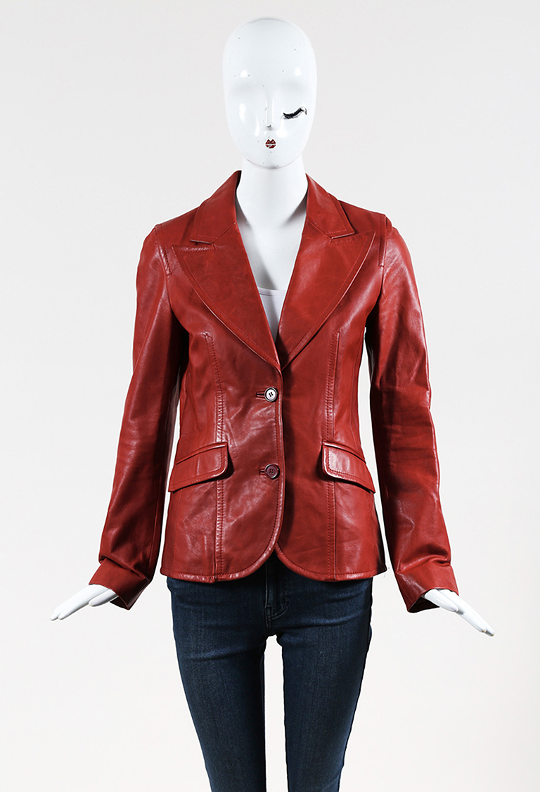 Red Leather Buttoned Front Jacket