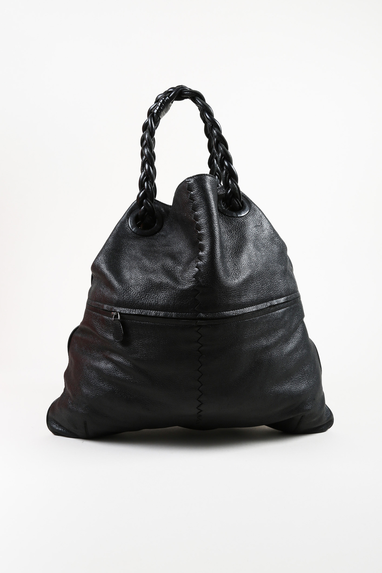 "Black ""Cervo"" Leather ""Julie"" Shoulder Bag"