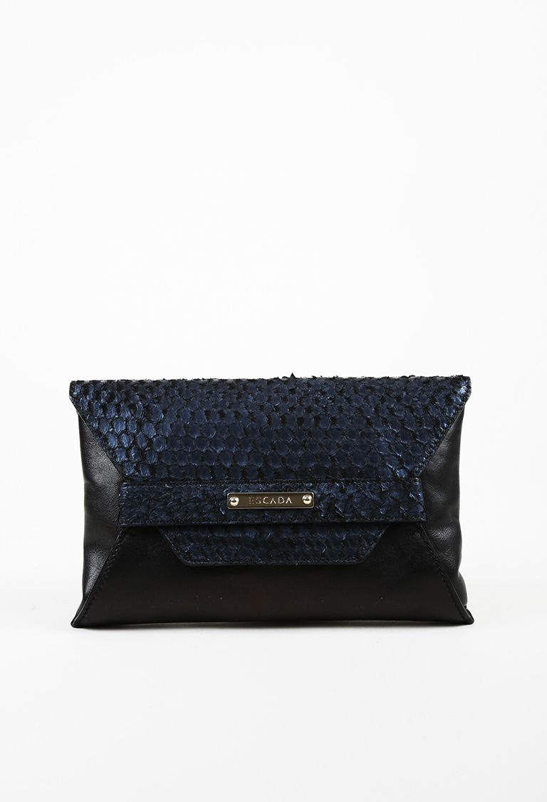 Black Blue Embossed Leather Front Flap Clutch