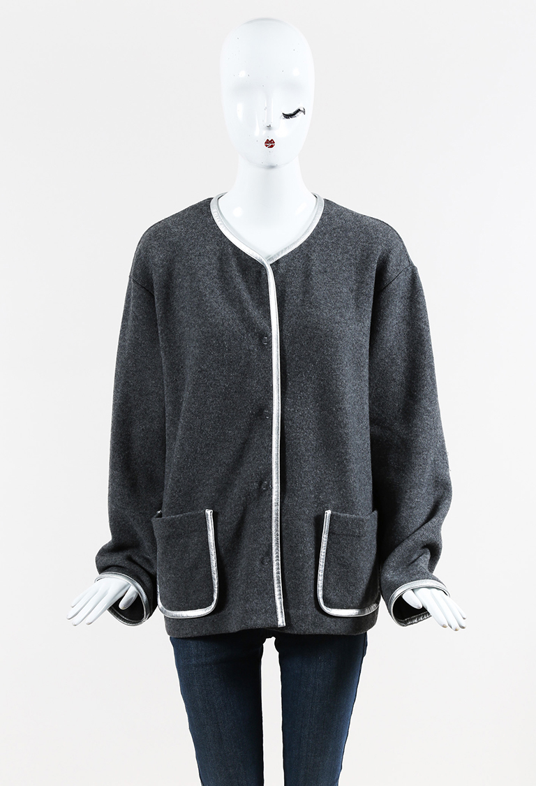 Gray & Metallic Silver Wool & Leather Buttoned Cardigan