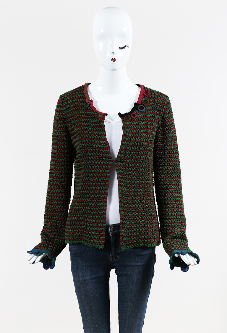 Multicolor Cotton & Silk Paillette Embellished Striped Cardigan
