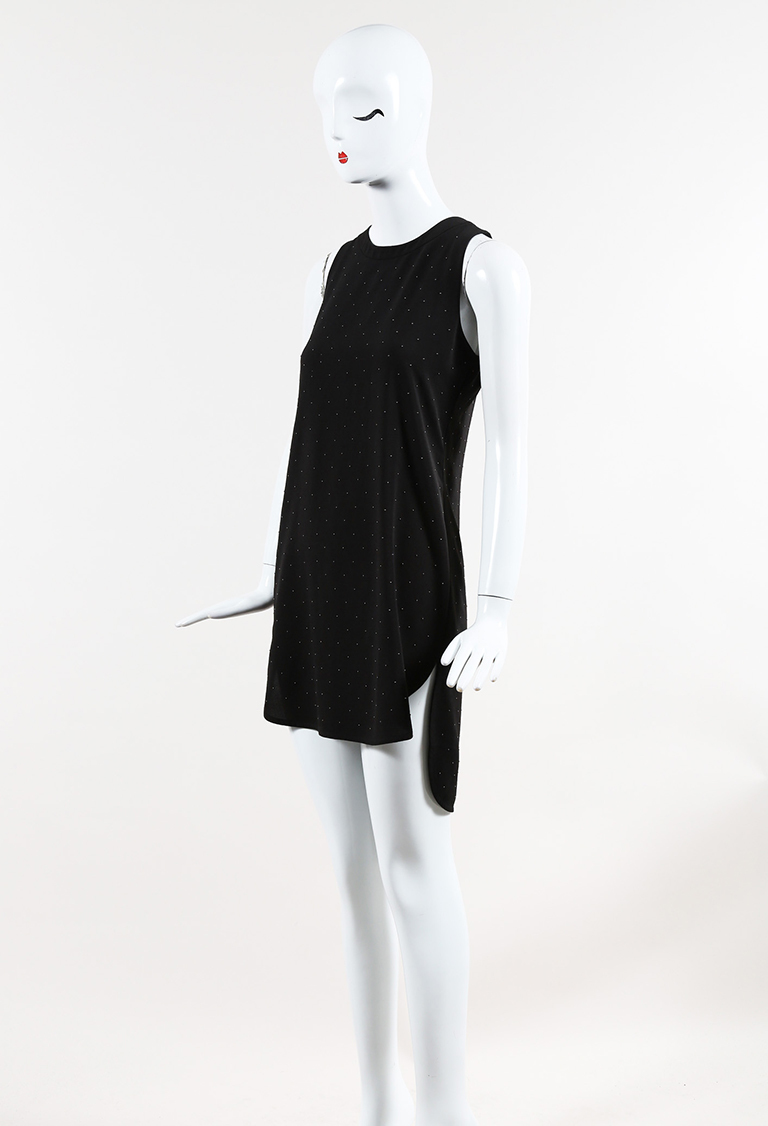 Black Crepe Silver Tone Studded Sleeveless Shift Dress