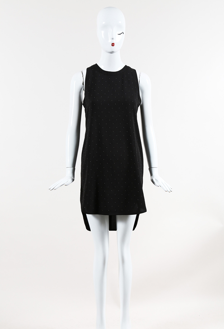 Balenciaga Black Crepe Silver Tone Studded Sleeveless Shift Dress SZ ... ed17df458