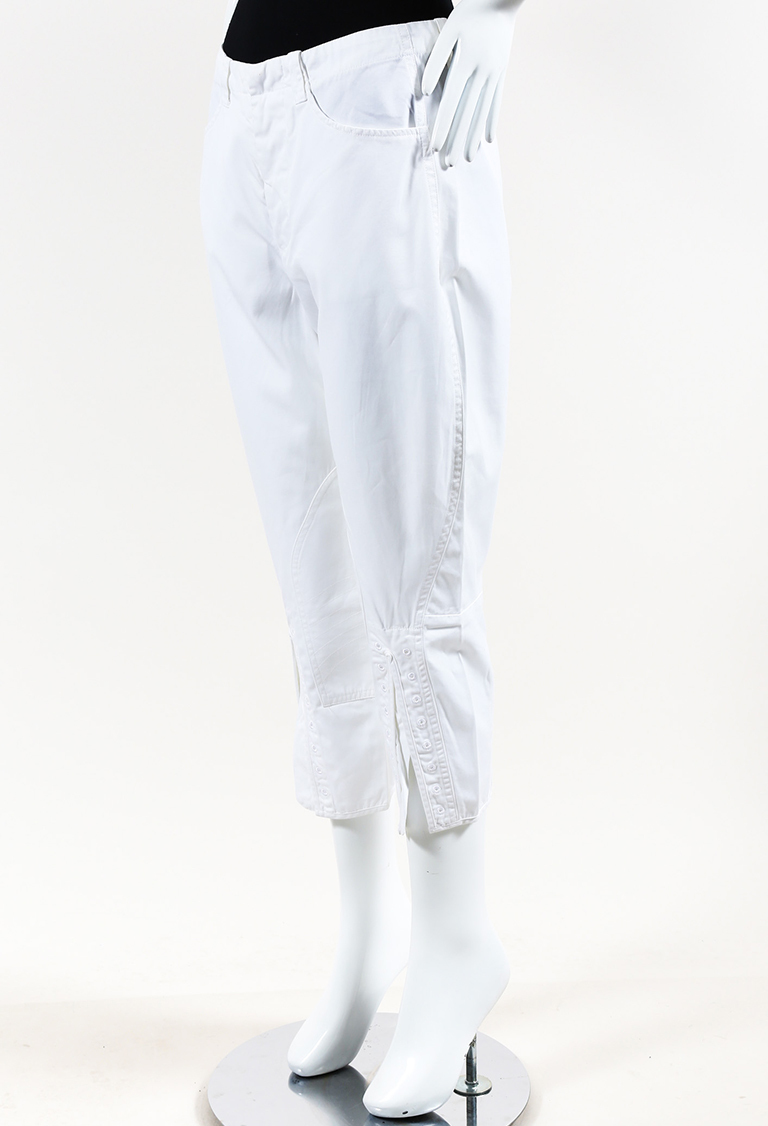 White Cotton Paneled Straight Leg Pants