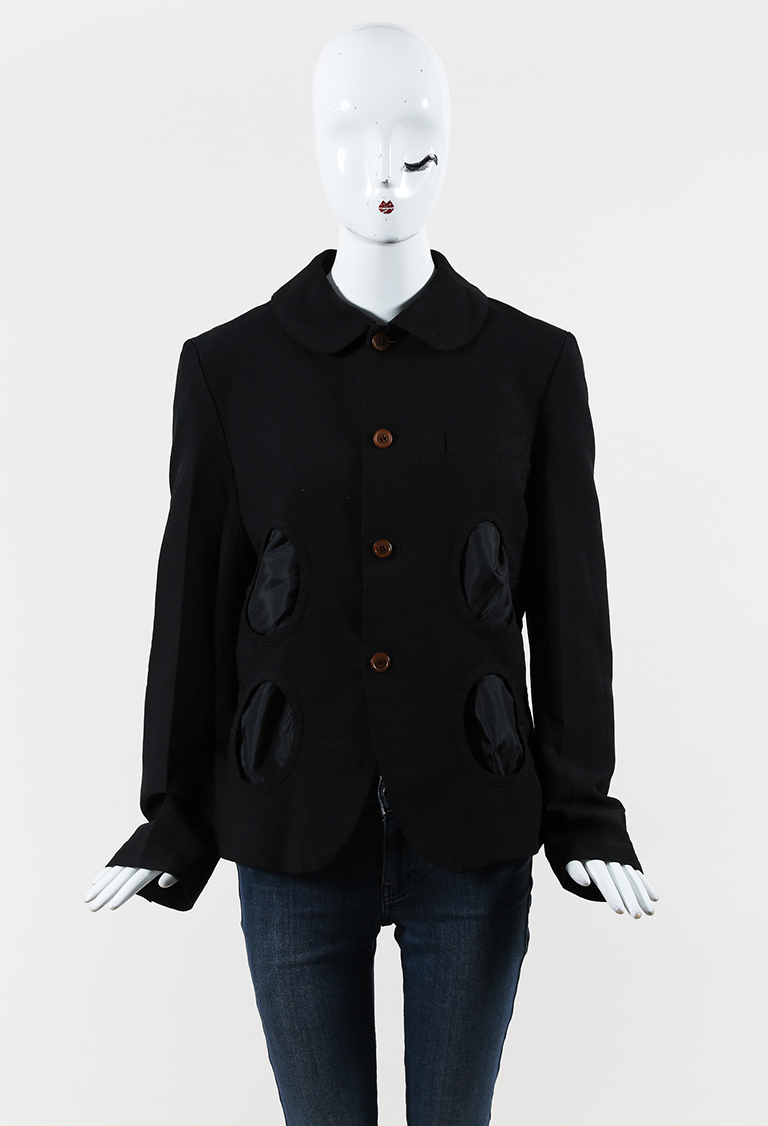Black Oval Cutout Buttoned Jacket