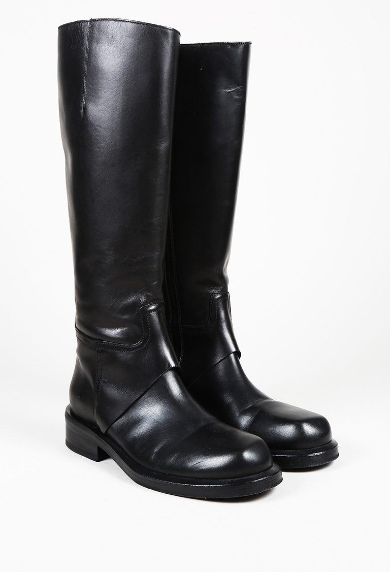 Black Leather Round Toe Knee High Boots