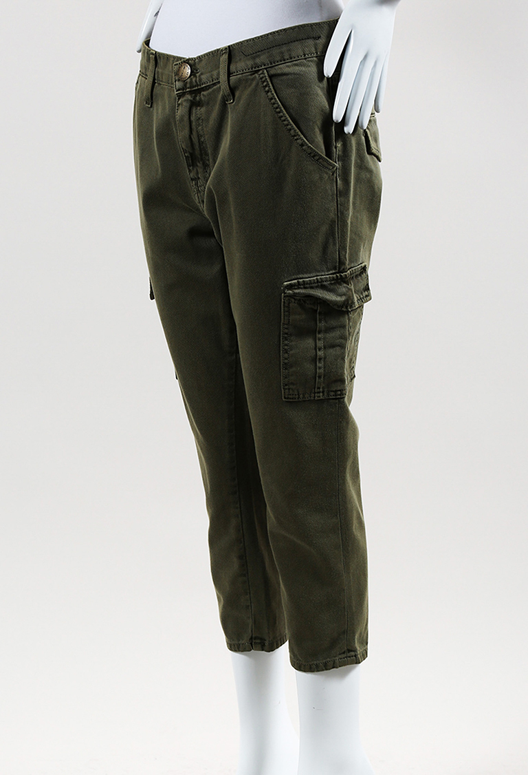 Green Cotton Denim Skinny Leg Cargo Jeans