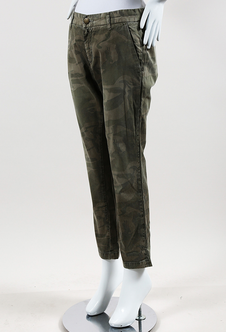 Green Cotton Camo Skinny Leg Pants