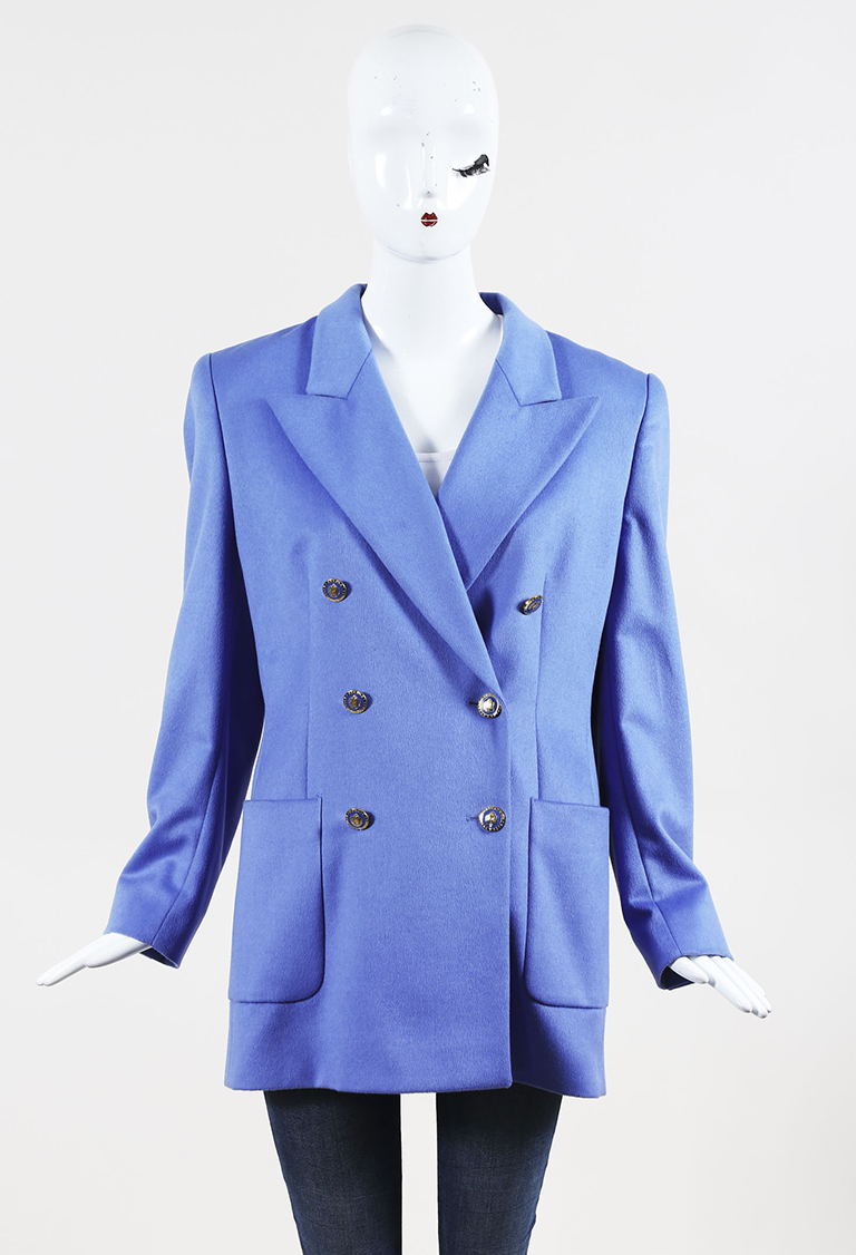 Blue Wool Blend Gold Tone Double Breasted Jacket