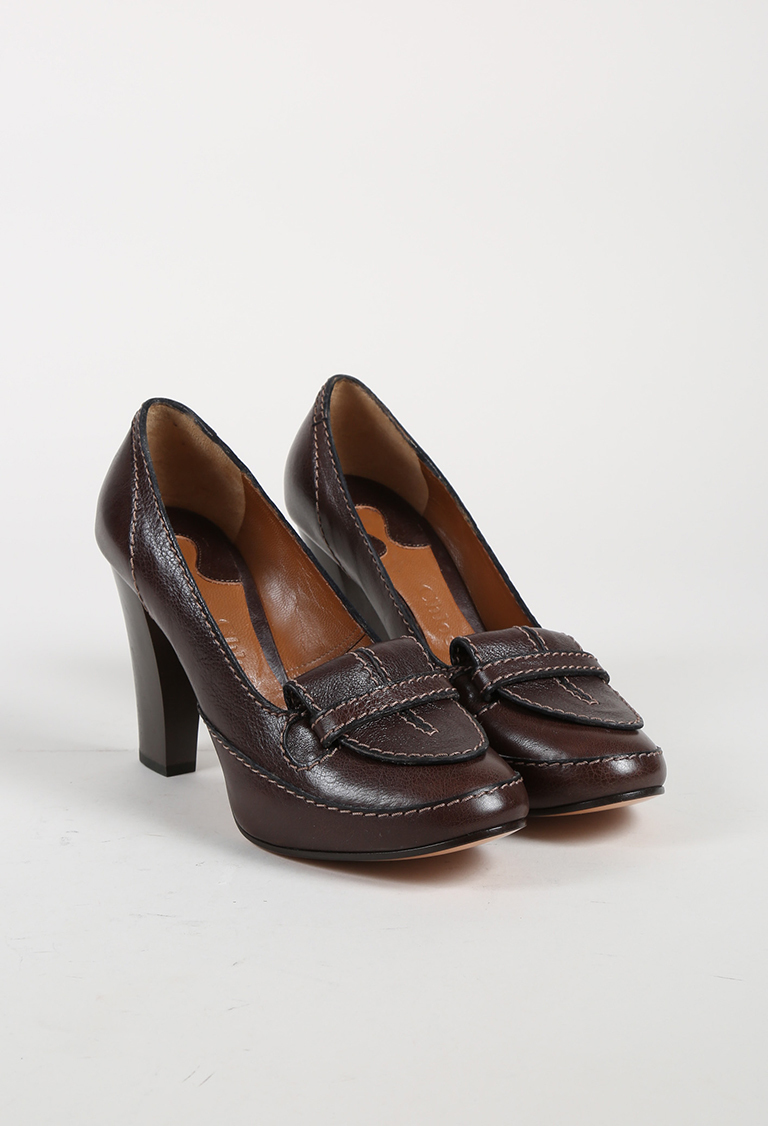 Brown Grained Leather High Heel Loafer Pumps